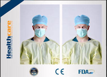 Yellow Disposable Isolation Gowns One Time Use Knitted Cuff Barrier Gowns Against Liquid