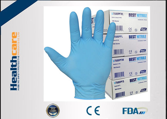 9 Mil 6 Mil Blue Nitrile Exam Disposable Protective Gloves Examination Powder Free